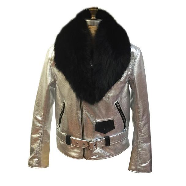 Jakewood G gator Silver Black Motorcycle Jacket With Fur collar