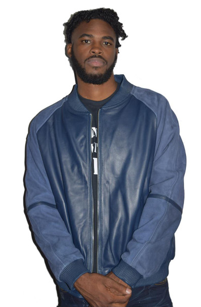 Blue Suede and Leather Baseball Jacket