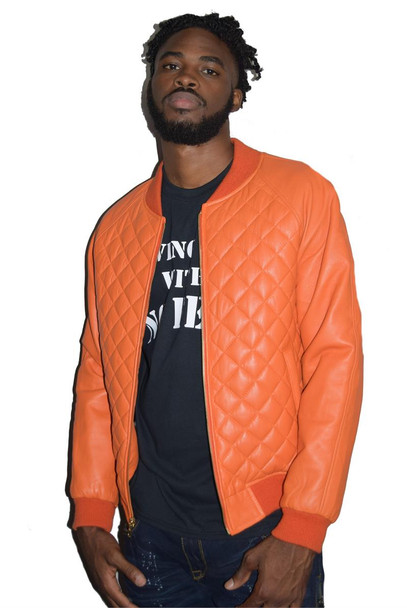 Orange Quilted Leather Jacket