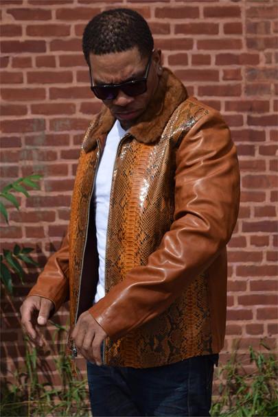 Cognac Python Leather Jacket