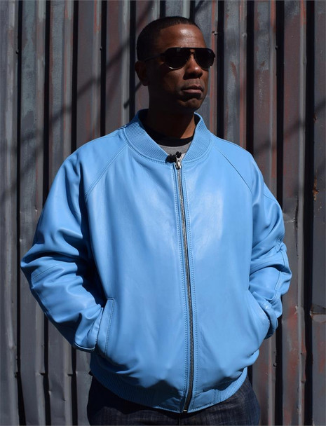 Baby Blue Butter Soft Baseball Leather Jacket