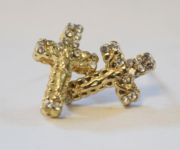 Gold Jesus Cross Studs