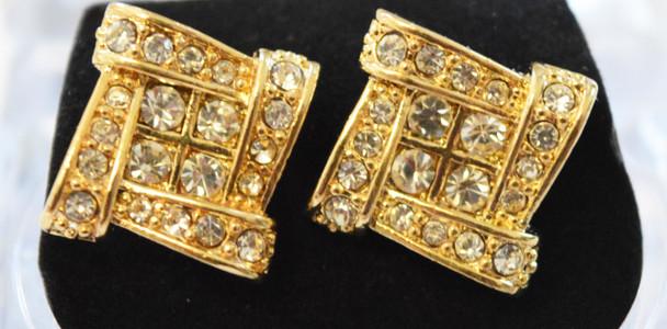 Gold Cubed Stud Earrings