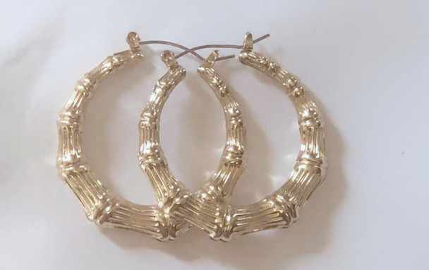 Small Gold Bamboo Earrings