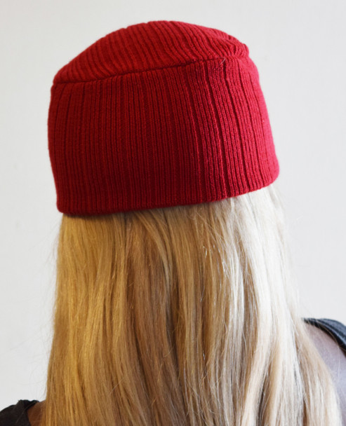 Red Knit Hat with Visor