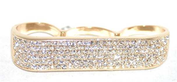 Gold Iced out Three Finger Ring