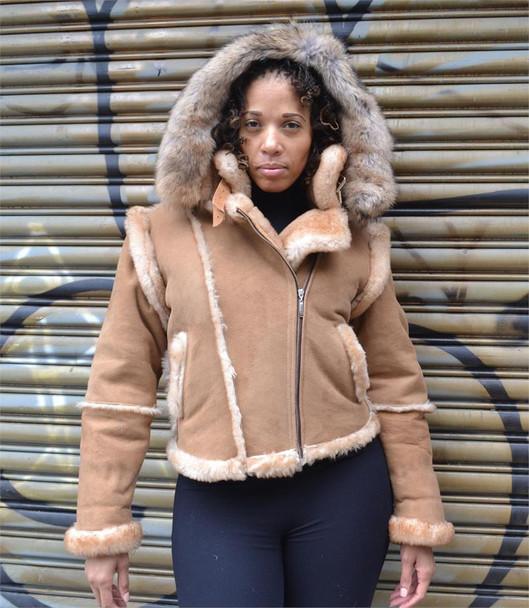 Tan Ladies Hooded Sheepskin Jacket