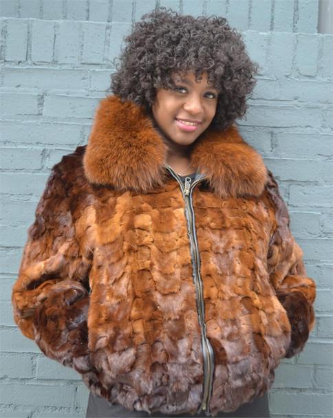 Two Shade Whiskey Ladies Diamond Fur Jacket