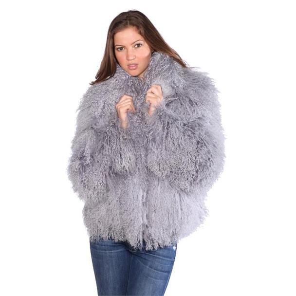 Grey ladies Mongolian Lamb Jacket
