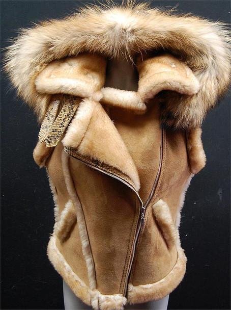 Tan Ladies Sheepskin Vest