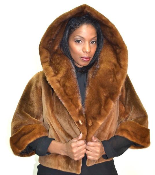 Sheared Mink Hooded Bolero Jacket