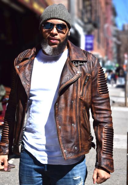 DLNYC Brown Distressed Moto Jacket