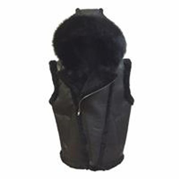 Jakewood G Gator Black Nappa Sheepskin Vest with Fox Fur Hood