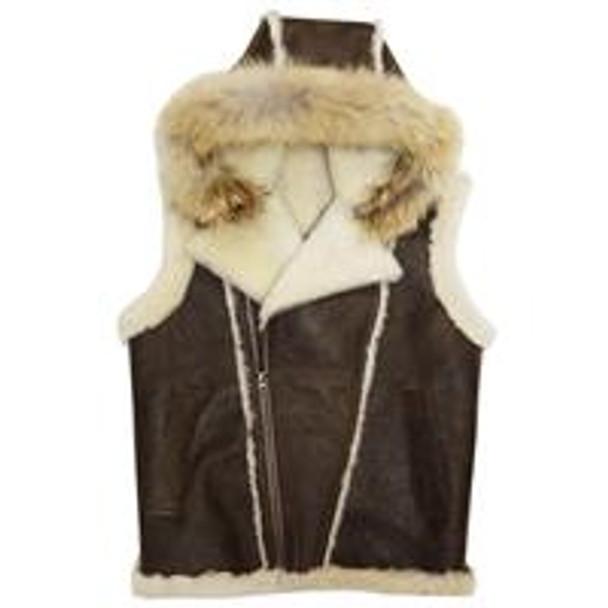 Jakewood G Gator Antique Brown Sheepskin Vest with Coyote Fur Hood