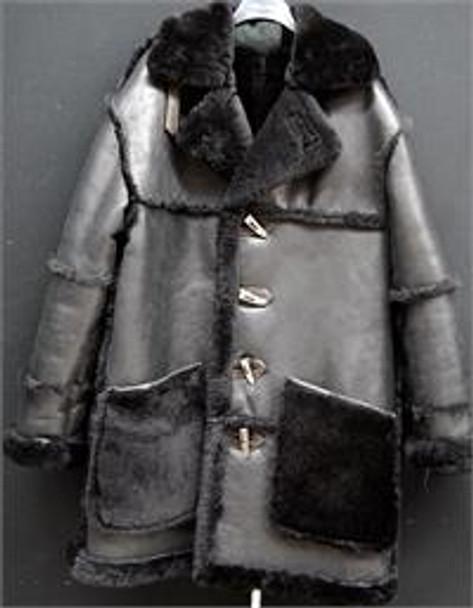 Black Three Quarters Napa Sheepskin Reverse Pocket