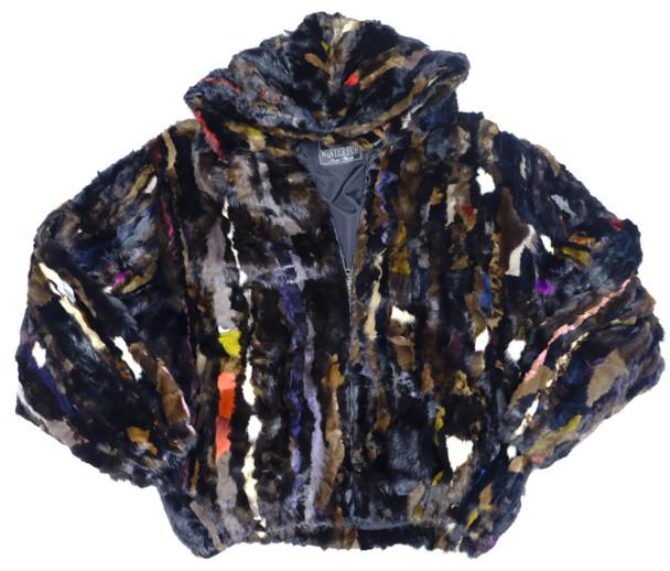 Multi Mink Fur Hooded Jacket