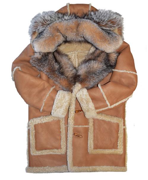Tan Sheepskin Fur Collar Jacket