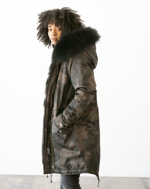 Green Camo DLNYC Fur Trim Parka Jacket