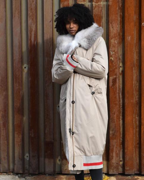 Long Varsity Cream Fur Lined Jacket