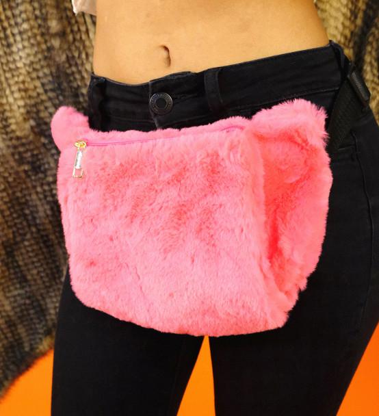Pink Faux Fur Waistbag
