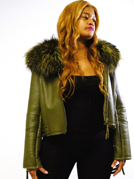 Ladies Short Green Shearling Jacket Fur Collar