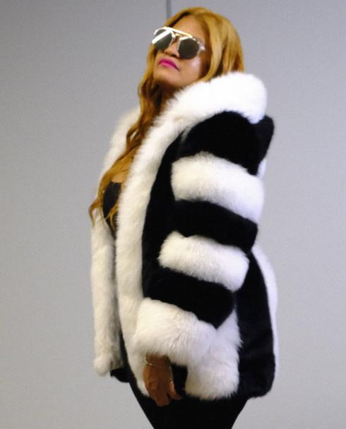 Black and White DLNYC Fox Fur Short Jacket