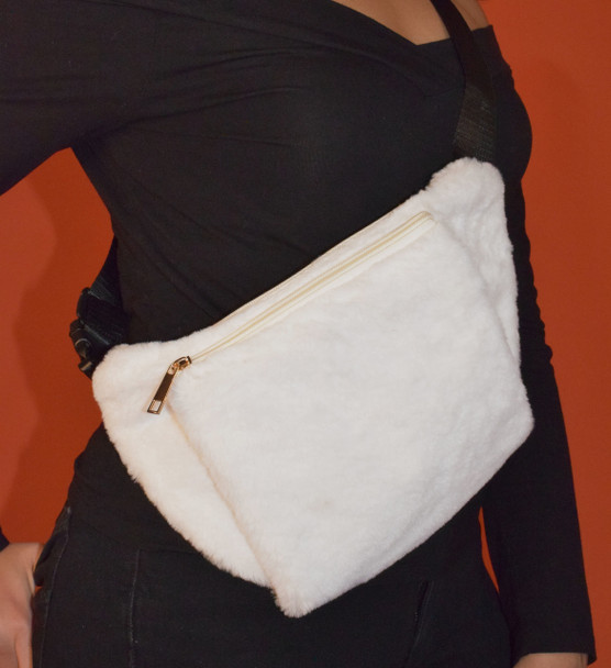 Faux Fur White Waistbag