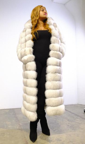 DLNYC Long Fox Fur Cream Coat