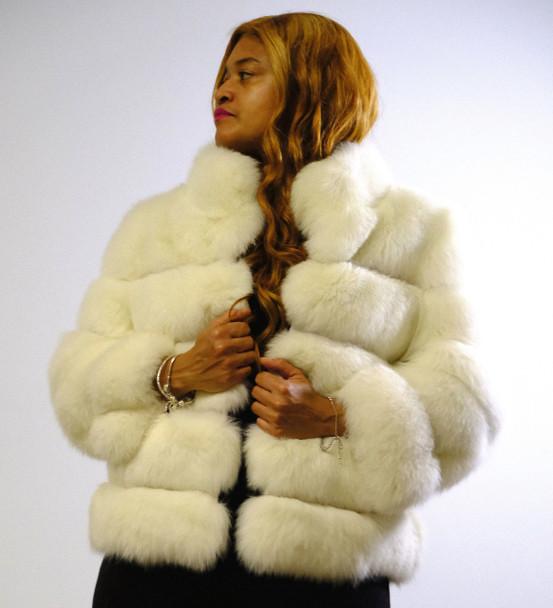 Short Cream Ladies Fox Fur Jacket DLNYC