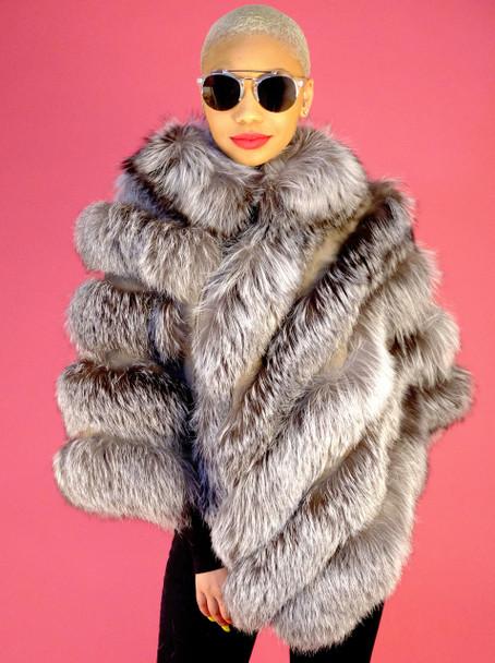 DLNYC Fox Fur Ladies Poncho
