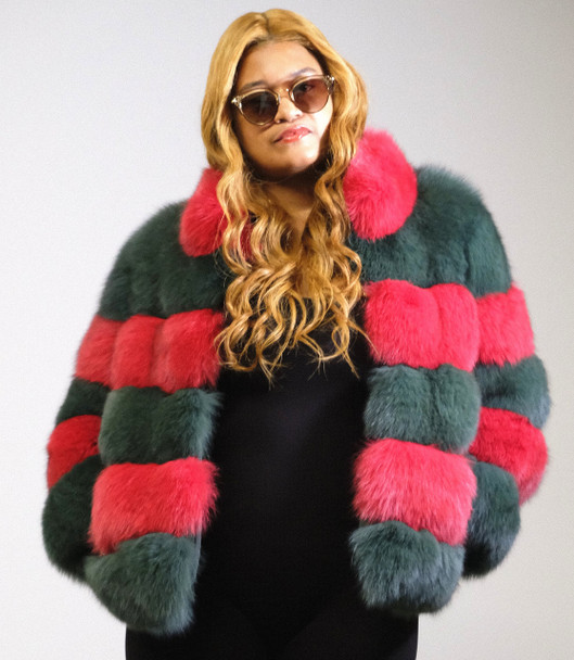 DLNYC Red and Green Fur Jacket