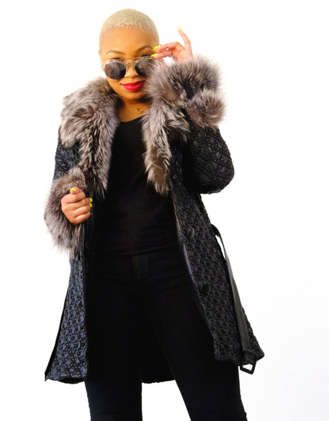 Black Embossed Leather Jacket with Fur Collar