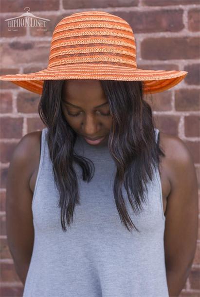 Orange Striped Beach Hat