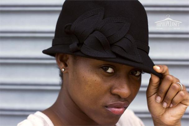Black Wool Ladies Flower Hat