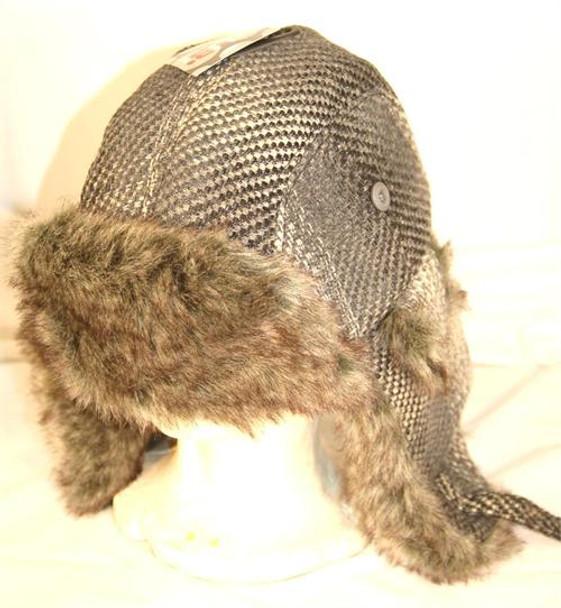 Gray Tan Aviator Trapper Hat