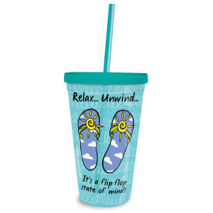 Flip Flop State Of Mind Insulated 16oz Tumbler Amp Straw 825 89