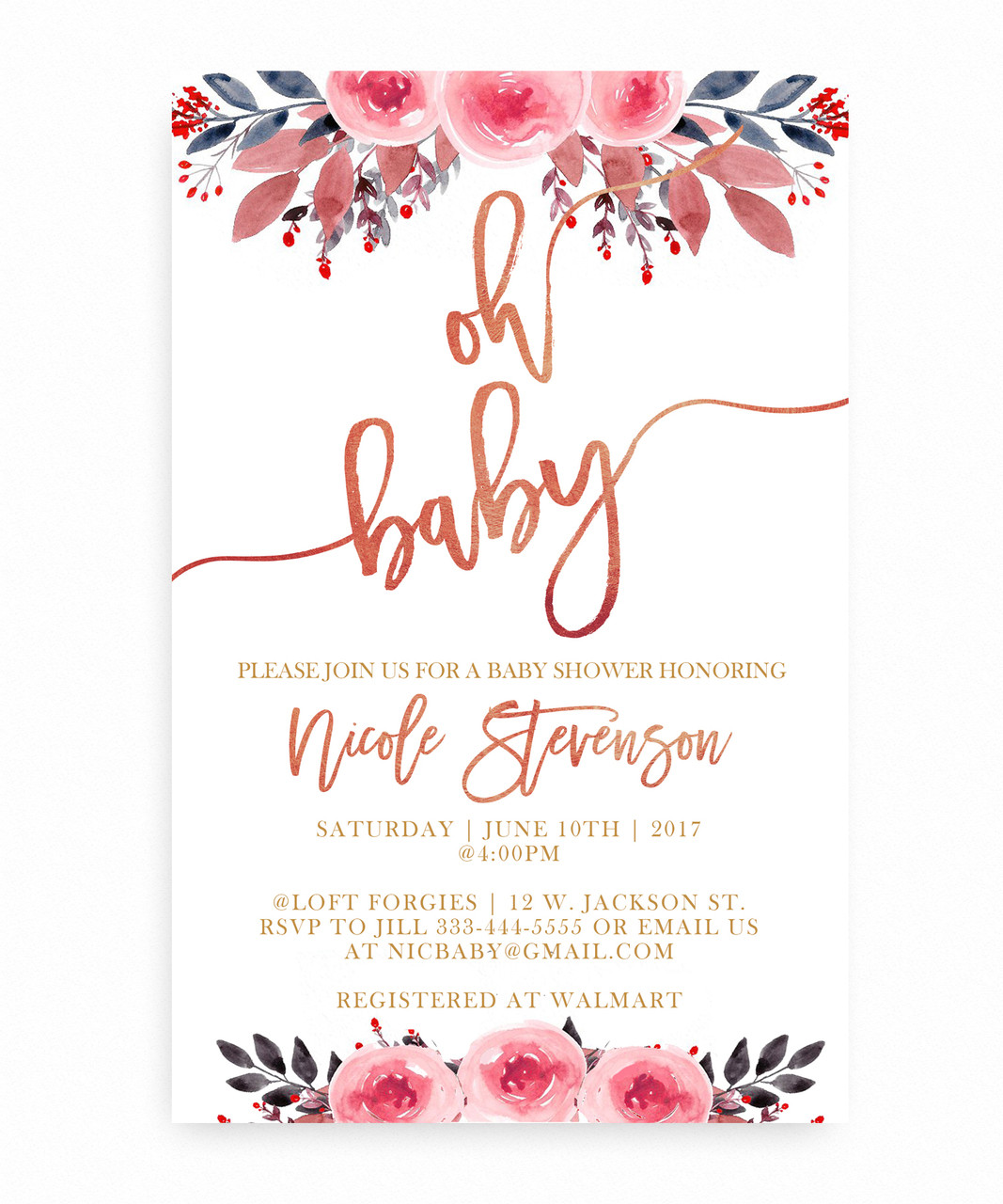 Watercolor flower baby shower invitation watercolor flower baby shower invitationfloral baby shower invitation watercolor flowers pink and filmwisefo