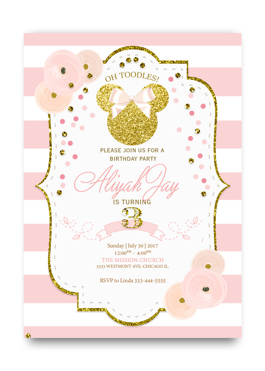 Glitter minnie mouse birthday invitation minnie mouse glitter glitter birthday minnie minnie gold glitter birthday birthday minnie filmwisefo