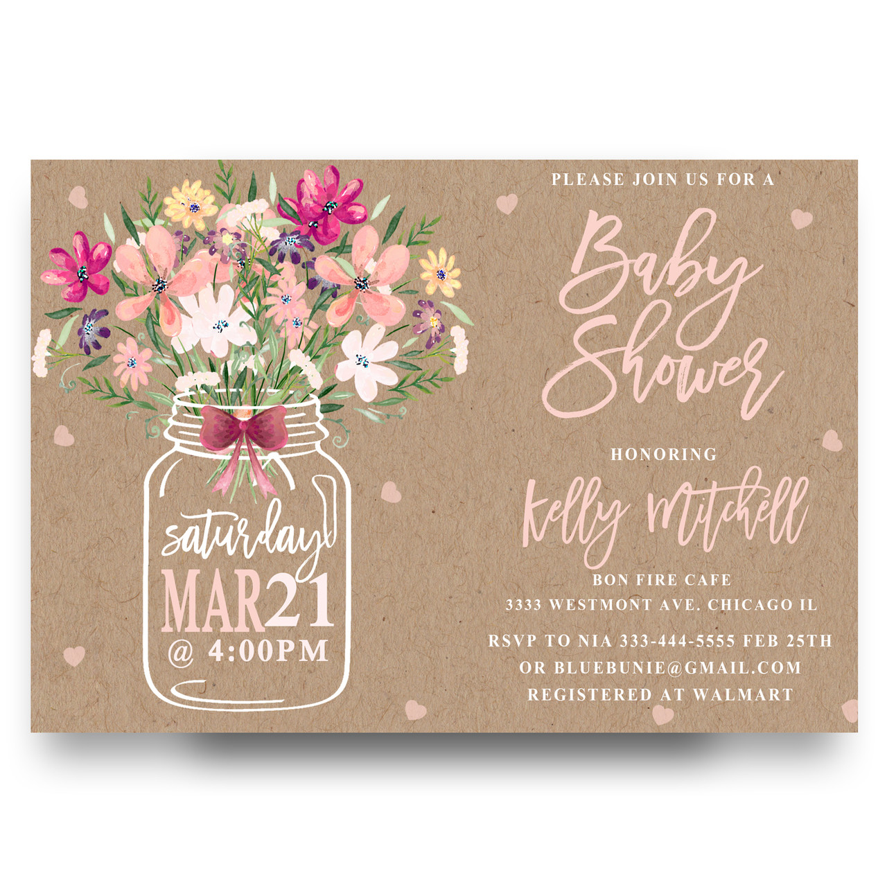 Mason jar baby shower invitation flower bouquet mason jar baby shower invitation mason jar flower flowers floral burlap filmwisefo