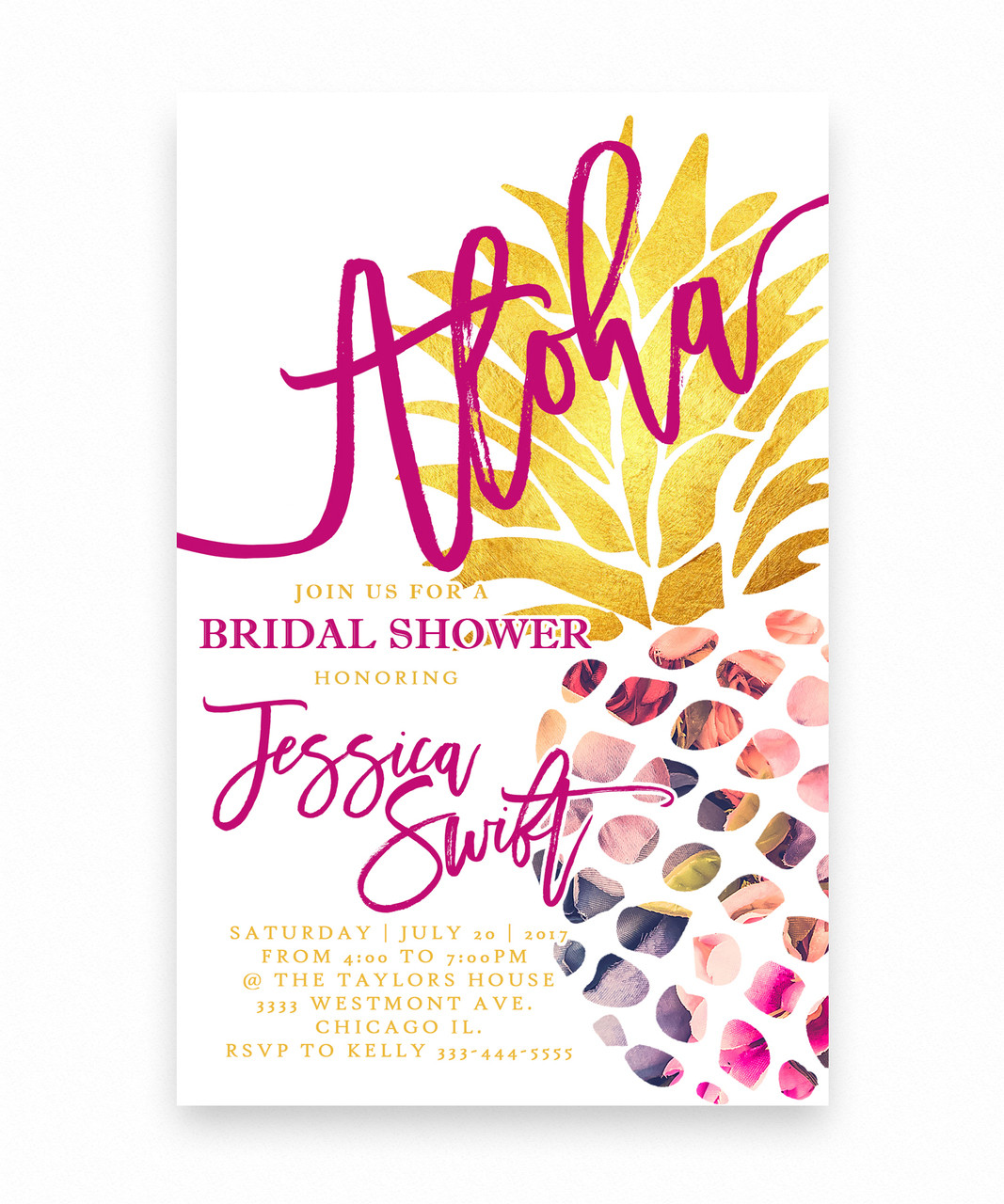 Luau bridal shower invitation aloha pineapple aloha bridal shower invitation summer pineapple filmwisefo