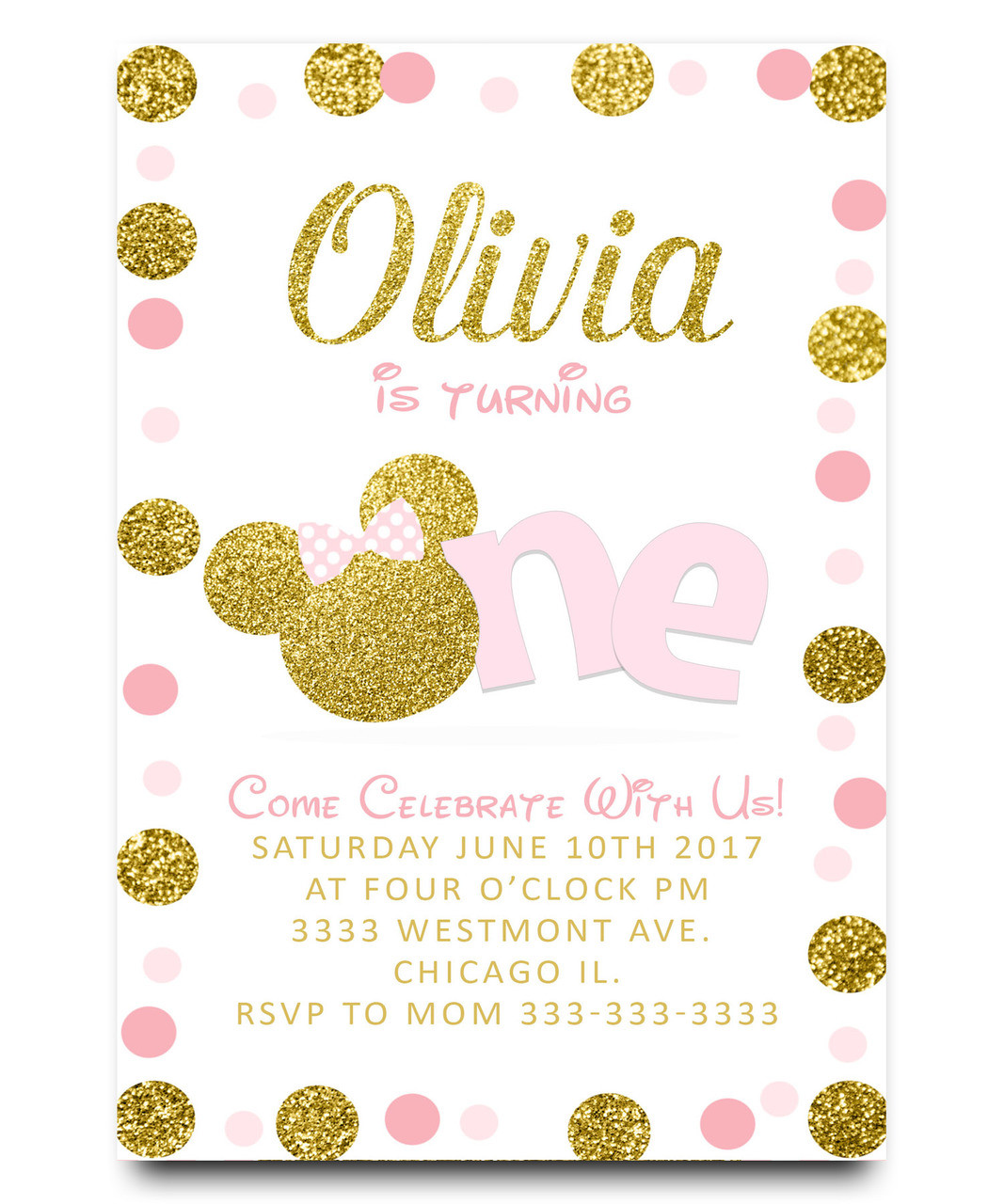 Minnie mouse birthday invitation, minnie pink and gold