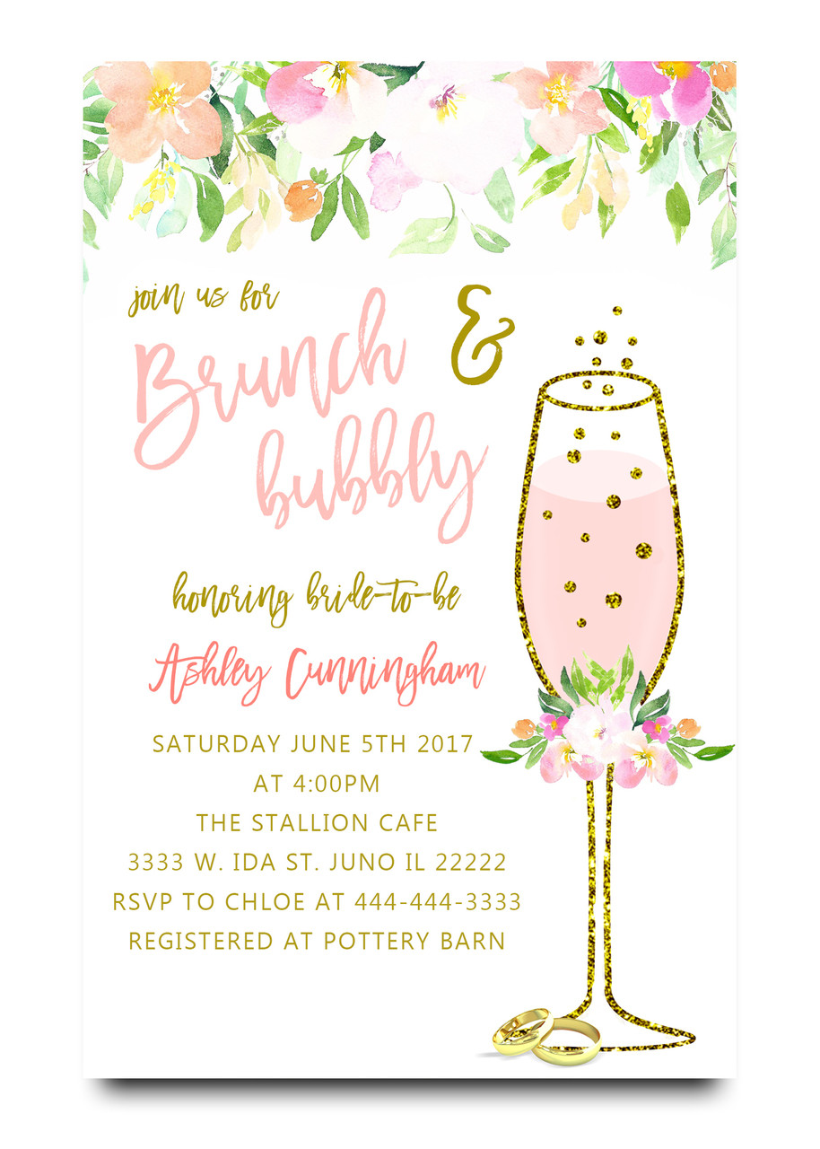 Brunch and bubbly floral bridal shower invitation