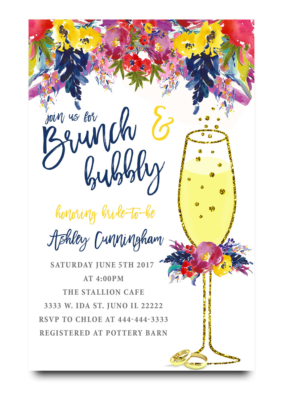 Brunch and bubbly Spring flowers bridal shower invitation