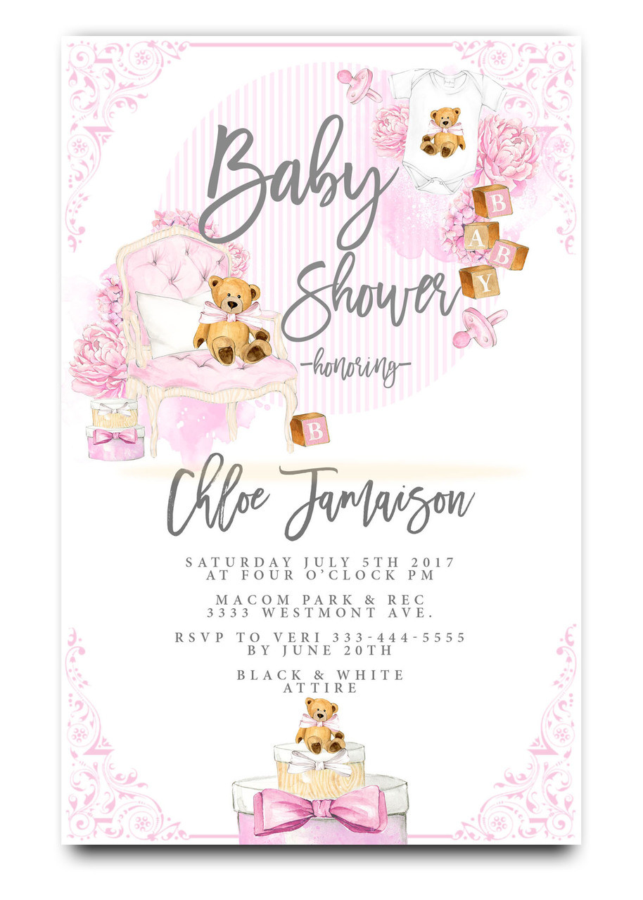 Baby shower invitation, pink teddy bear, gift boxes