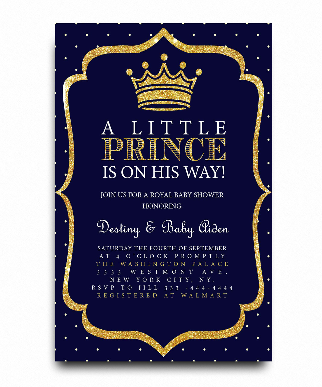 Little Prince Baby Shower Invitation, Royal Baby