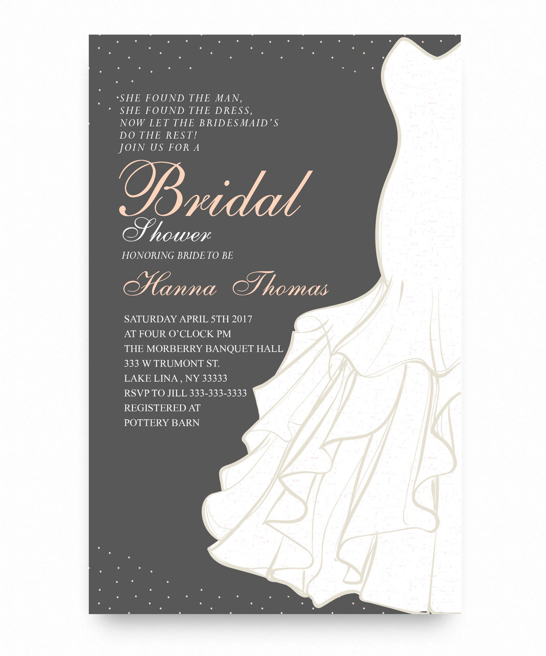 Bridal shower invitation, wedding dress
