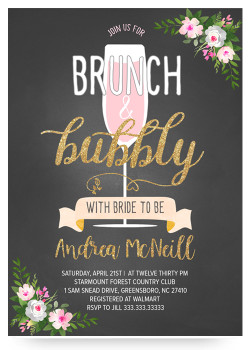 Brunch and bubbly chalkboard bridal shower invitations brunch and bubbly bridal shower invitation filmwisefo