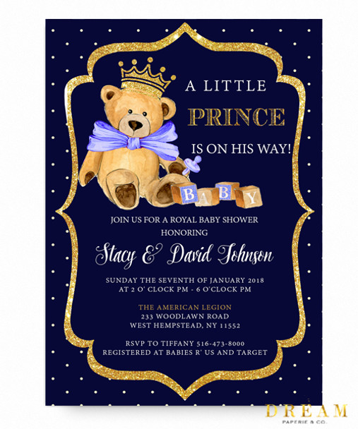 Little prince baby shower invitation royal baby bear invitation little prince baby shower invitation royal baby shower invitationroyal blue glitter filmwisefo