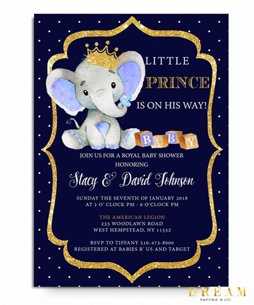 Little prince Elephant baby shower invitation, royal baby