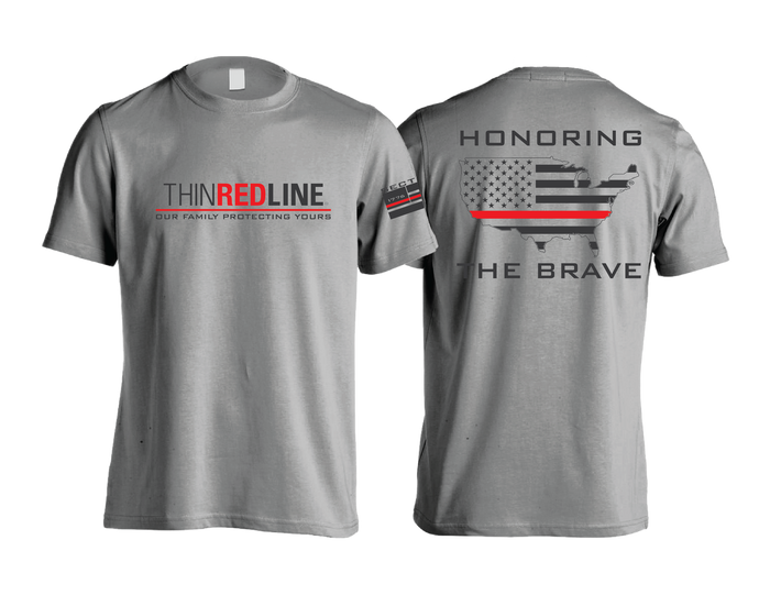 Thin Red Line - Gray Short Sleeve